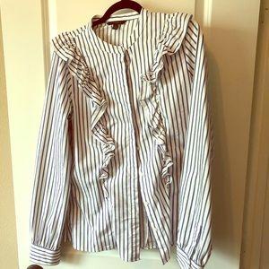 Blue and white ruffle shirt TALL size 14